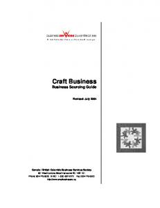 Craft Business Business Sourcing Guide