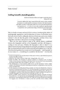Crafting Scientific (Auto)Biographies