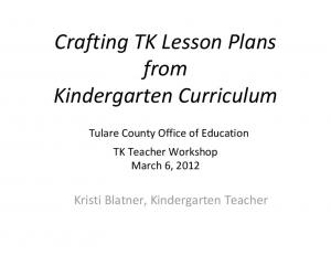 Crafting TK Lesson Plans from Kindergarten Curriculum