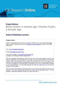 Craig Calhoun Book review: a secular age: Charles Taylor, a secular age