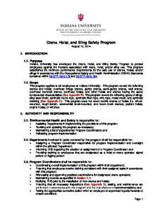 Crane, Hoist, and Sling Safety Program August 15, 2014