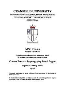 CRANFIELD UNIVERSITY. MSc Thesis Academic Year
