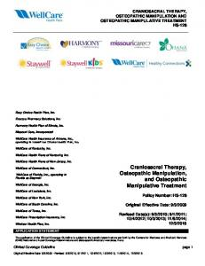 Craniosacral Therapy, Osteopathic Manipulation, and Osteopathic Manipulative Treatment