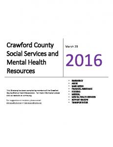 Crawford County Social Services and Mental Health Resources