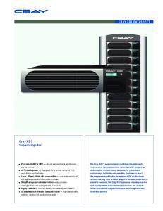 Cray XD1 Supercomputer CRAY XD1 DATASHEET