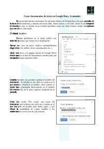 Crear documentos de texto en Google Docs. Avanzado