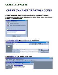 CREAR UNA BASE DE DATOS ACCESS