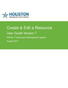 Create & Edit a Resource