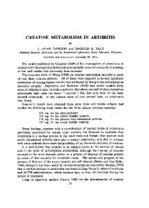 CREATINE METABOLISM IN ARTHRITIS