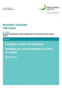 Creating a culture of coaching: