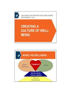 CREATING A CULTURE OF WELL- BEING