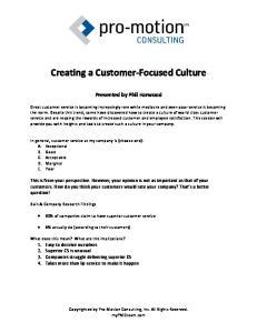 Creating a Customer-Focused Culture