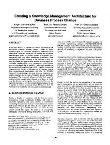 Creating a Knowledge Management Architecture for Business Process Change