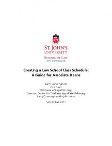 Creating a Law School Class Schedule: A Guide for Associate Deans
