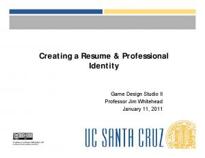 Creating a Resume & Professional Identity
