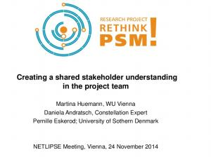 Creating a shared stakeholder understanding in the project team