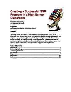 Creating a Successful SSR Program in a High School Classroom