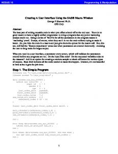 Creating A User Interface Using the SAS Macro Window