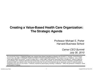 Creating a Value-Based Health Care Organization: The Strategic Agenda