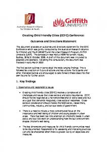 Creating Child Friendly Cities (CCFC) Conference: Outcomes and Directions Statement
