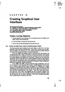 Creating Graphical User Interfaces