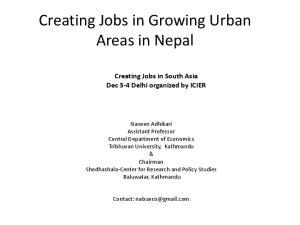 Creating Jobs in Growing Urban Areas in Nepal