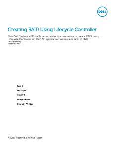 Creating RAID Using Lifecycle Controller