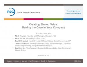 Creating Shared Value: Making the Case in Your Company