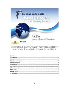 Creating Sustainable. Businesses. Information & Communication Technologies (ICT) in Agriculture Sourcebook: Project Concept Note
