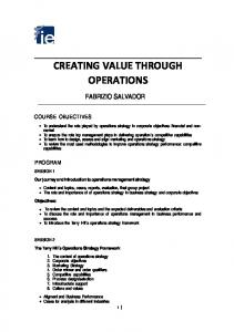 CREATING VALUE THROUGH OPERATIONS