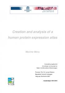 Creation and analysis of a human protein expression atlas