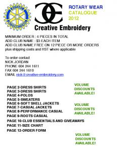Creative Embroidery ROTARY WEAR CATALOGUE 2012