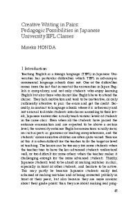 Creative Writing in Pairs: Pedagogic Possibilities in Japanese University EFL Classes