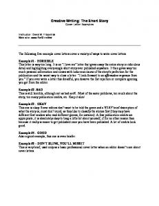 Creative Writing: The Short Story Cover Letter Examples