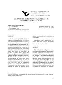 CREATIVIDAD Y RENDIMIENTO ACADEMICO DE LOS ESTUDIANTES DE BELLAS ARTES