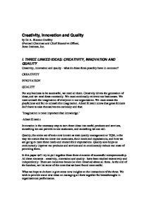 Creativity, Innovation and Quality