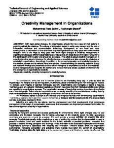 Creativity Management In Organizations