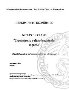 CRECIMIENTO ECONÓMICO. NOTAS DE CLASE: Crecimiento y distribución del ingreso