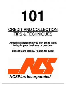 CREDIT AND COLLECTION TIPS & TECHNIQUES