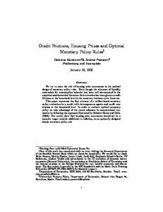 Credit Frictions, Housing Prices and Optimal Monetary Policy Rules y