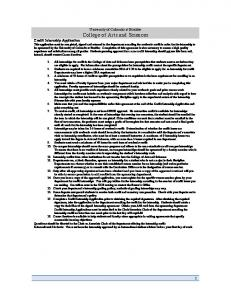 Credit Internship Application non-credit