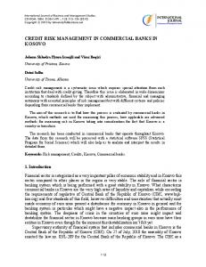 CREDIT RISK MANAGEMENT IN COMMERCIAL BANKS IN KOSOVO