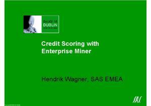 Credit Scoring with Enterprise Miner. Hendrik Wagner, SAS EMEA. Copyright 2000 SAS EMEA