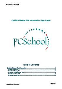 Creditor Master File Information User Guide