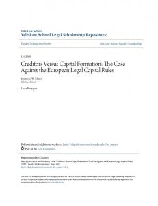 Creditors Versus Capital Formation: The Case Against the European Legal Capital Rules