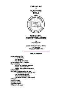 CREENCIAS Y DOCTRINAS DE LA IGLESIA DEL NUEVO TESTAMENTO