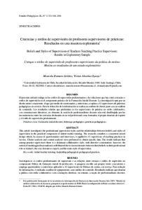 Creencias y estilos de supervisión de profesores supervisores de prácticas: Resultados en una muestra exploratoria *