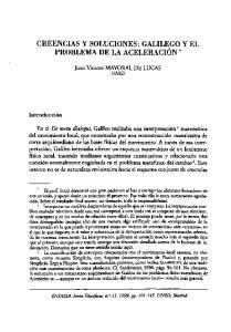 CREENCIAS Y SOLUCIONES: GALILEGO Y EL PROBLEMA DE LA ACELERACIÓN *