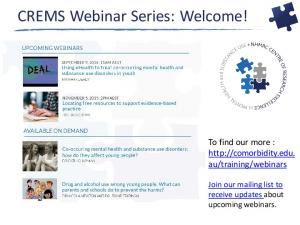 CREMS Webinar Series: Welcome!