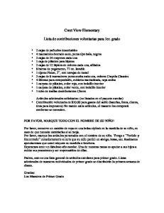 Crest View Elementary. Lista de contribuciones voluntarias para 1er. grado